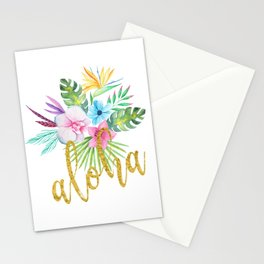 Hawaiian multicolored floral bouquet with faux gold aloha brush script Stationery Cards