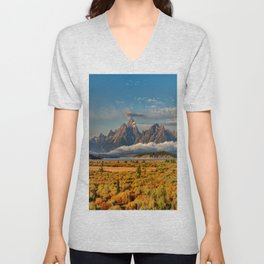 TheGrand Teton National Park in the Fall Panorama Unisex V-Neck