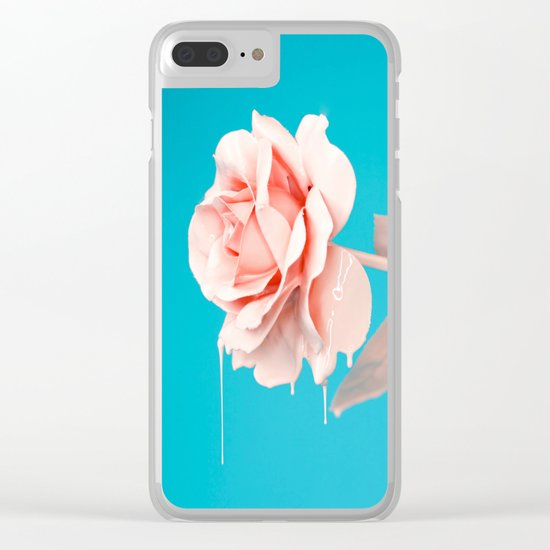 Pastel rose drip Clear iPhone Case