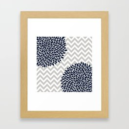 Chevron Floral Modern Navy and Grey Framed Art Print
