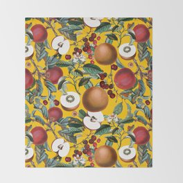 Vintage Fruit Pattern V Throw Blanket