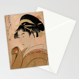Vintage Japanese Ukiyo-e Woodblock Print Woman Portrait V Stationery Cards