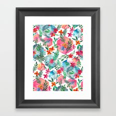 Whimsical Hexagon Garden on white Framed Art Print