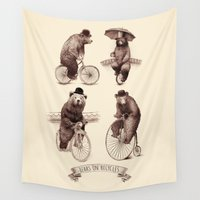 bicycles Wall Tapestries featuring Bears on Bicycles by Eric Fan