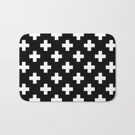 Black & White Plus Sign Pattern Bath Mat
