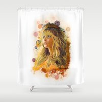jennifer lawrence Shower Curtains featuring Jennifer Lawrence II by Rene Alberto