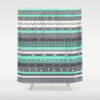 tiffany Shower Curtains featuring Tiffany Turquoise Aztec Print by RexLambo
