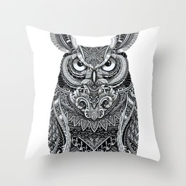 Fancy Great Horned Owl Throw Pillow