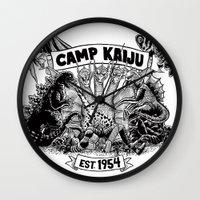kaiju Wall Clocks featuring Camp Kaiju by Austin James