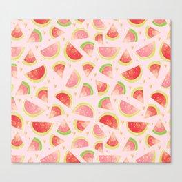 Watermelon Slices & Gold Hearts Canvas Print