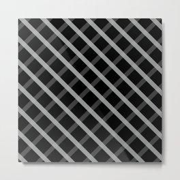 Gray White Square Pattern Geomeric Metal Print