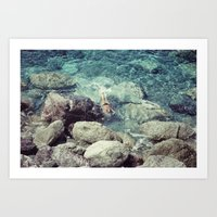 swimming Art Prints featuring SWIMMING by Marte Stromme