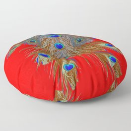DECORATIVE  RED GREEN BLUE PEACOCK FEATHER JEWELS Floor Pillow
