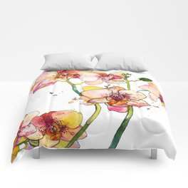 Pink Orchids Comforters