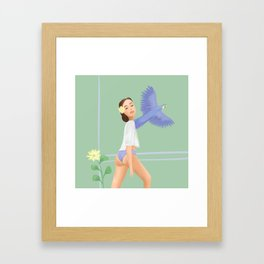 Girl with a parrot Framed Art Print