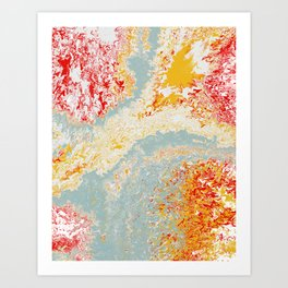 Splashtastic Red Yellow Blue Ocean of Fire Abstract Art Print