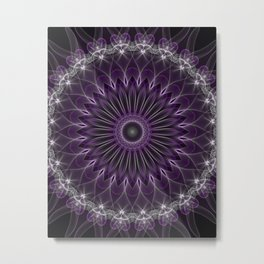 Glowing mandala in violet and silver colors Metal Print