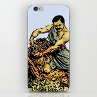 parks and recreation iPhone & iPod Skins featuring Ron Swanson Slaying A Lion  |  Parks and Recreation by Silvio Ledbetter