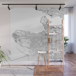 Vancouver White Map Wall Mural