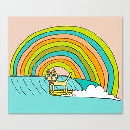 Rad Surf Kitty Tastes the Rainbow Single Fin Longboard Canvas Print