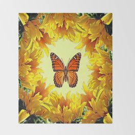 Monarch Butterfly Creany Yellow Sunflower Circle Throw Blanket