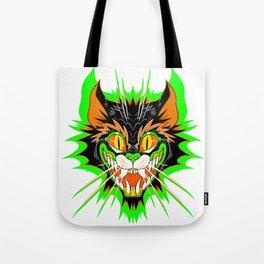 SPOOKY CAT (GREEN BURST) Tote Bag