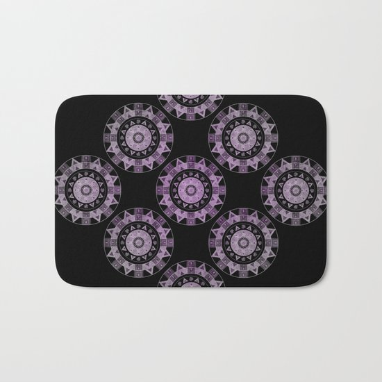 Ethnic mandalas in purple Bath Mat