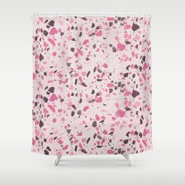 Abstract modern girly pastel pink black marble Shower Curtain