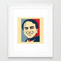 carl sagan Framed Art Prints featuring Carl Sagan 'Hope' by cvrcak