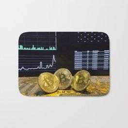 Bitcoin trio circuit market charts clean Bath Mat