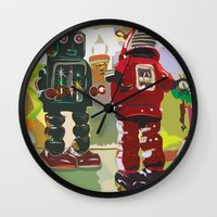 robots Wall Clocks featuring Robots by Five Ate Five Studios