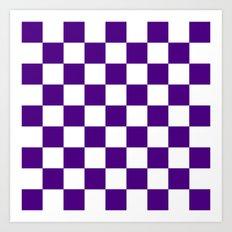 Checker (Indigo/White) Art Print
