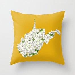 West Virginia in Flowers Throw Pillow