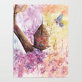 Birdhouse Art Illustration Poster