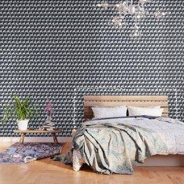 Navy blue black abstract watercolor zigzag brushstrokes pattern Wallpaper