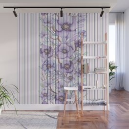 Watercolor purple lavender lilac floral stripes Wall Mural