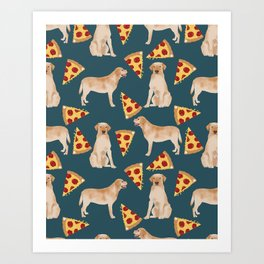Yellow Labrador pizza cheesy slice of pizza food trendy pet gifts for yellow lab owners dog breed Art Print