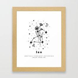 Leo Constellation and Birth Flower Framed Art Print