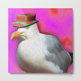 Seagull with Summer Hat Metal Print