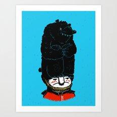 Queen's Guard Hates Hat - Bears, Hats, Queens & Soldiers Art Print