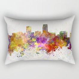 Omaha skyline in watercolor background Rectangular Pillow