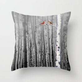 Red Cardinals in Birch Forest A128 Throw Pillow
