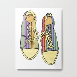 Multicoloured Converse Shoe Illustration Metal Print