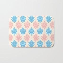 Coral blue ivory vintage chic floral damask pattern Bath Mat