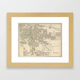 Vintage Map of Denver Colorado (1901) Framed Art Print