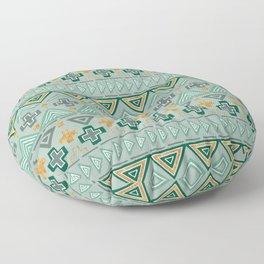 Bohemian Aztek pattern in Gold & Green Floor Pillow