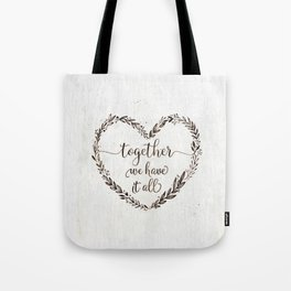 Love message in heart on old white wood texture Tote Bag