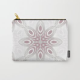 Feathers, Geometric Pattern in Mauve and Grey Carry-All Pouch