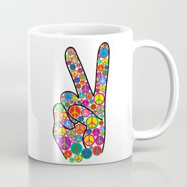 Cool Colorful Groovy Peace Sign and Symbols Coffee Mug