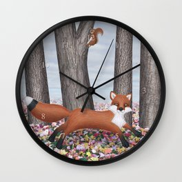 fox and squirrel Wall Clock